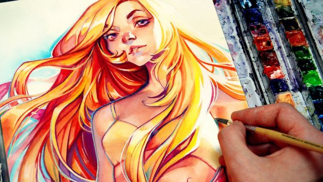 水着の美女を描く!水彩イラストメイキング
