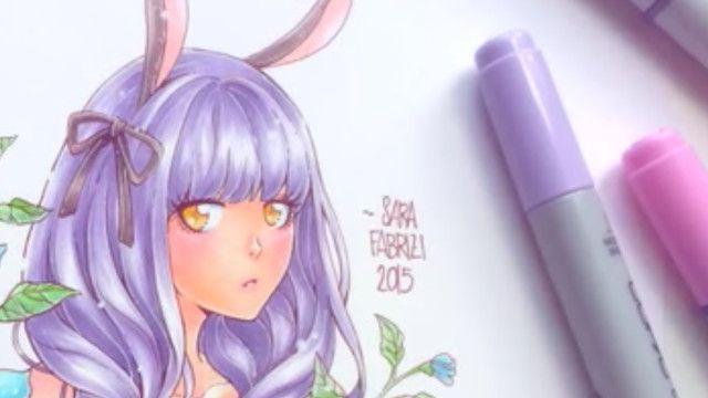 コピックで描く♪ウサ耳女の子アナログイラストメイキング