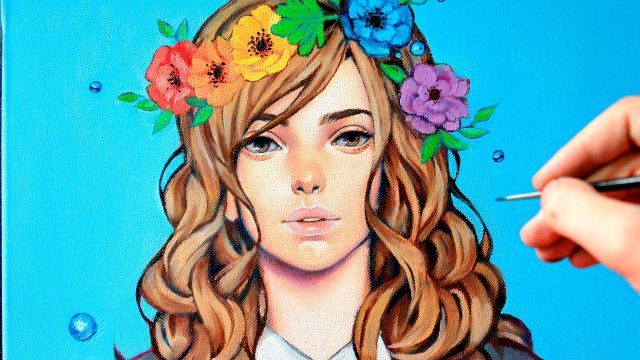 油彩で描く!花冠のイラストメイキング