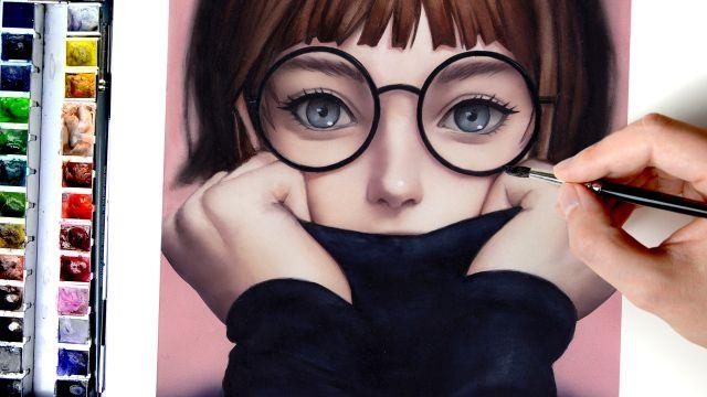 まるでCG!?水彩で描くメガネの女の子 デジタル風イラストメイキング